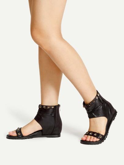 Studded Embellished PU Block Heeled Sandals