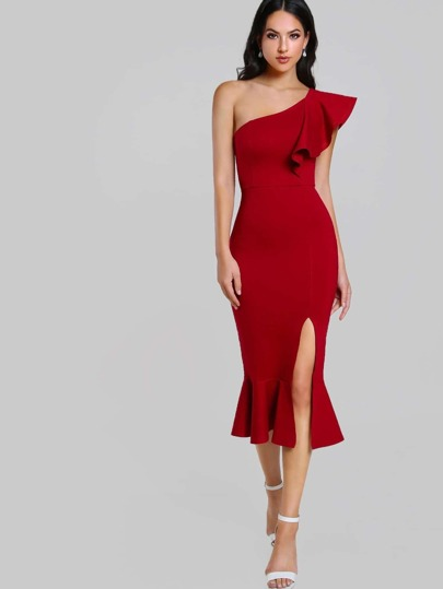 Flounce One Shoulder Slit Fishtail Dress