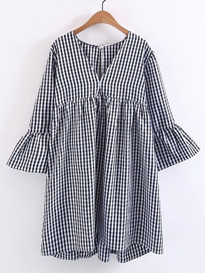 Bell Sleeve Checkered Dress