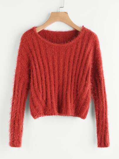 Rib Knit Crop Fuzzy Jumper