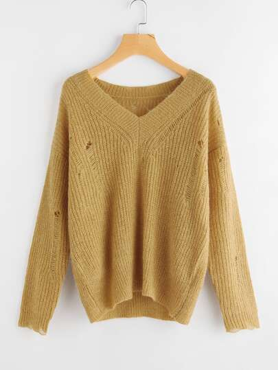 Drop Shoulder Distressed Jumper