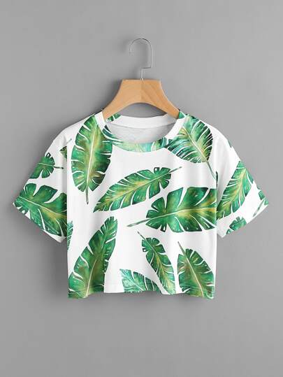 Banana Leaves Print Random Tee