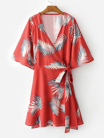 Bell Sleeve Tie Waist Wrap Dress