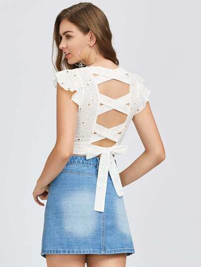 Crisscross Tie Back Eyelet Embroidered Top
