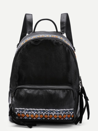 Embroidery Detail PU Backpack