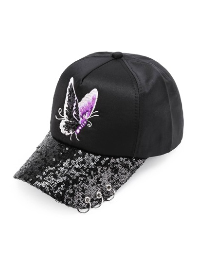 Butterfly Embroidery Sequin Baseball Cap