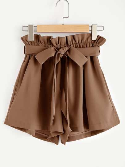 Frill Waist Self Tie Shorts
