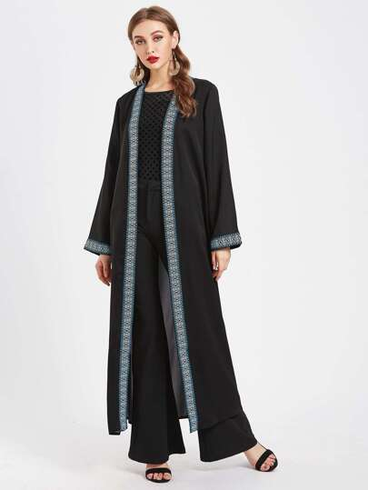Contrast Embroidered Tape Trim Longline Abaya With Belt