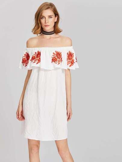 Flower Embroidered Frill Off Shoulder Dress