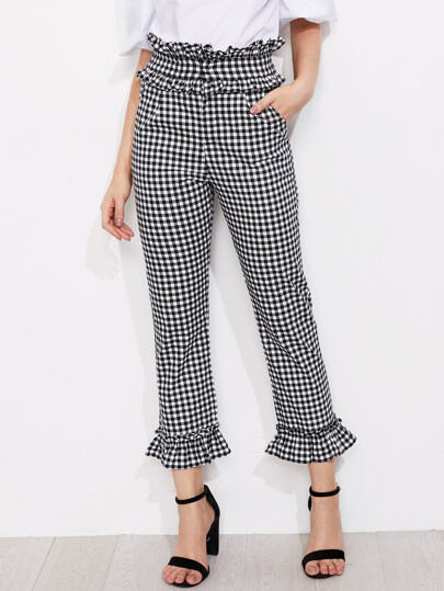 Gingham Frill Trim Pants