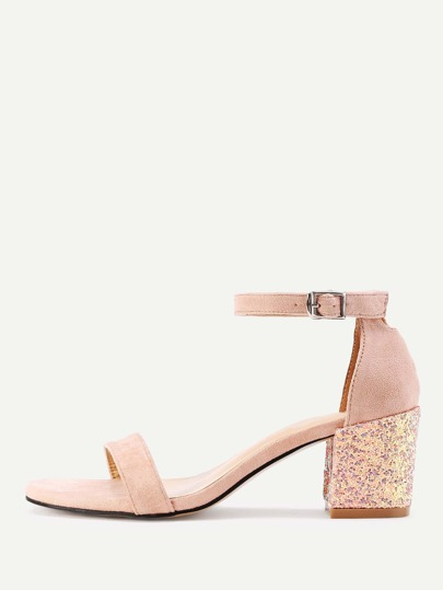 Glitter Detail Two Part Block Heeled Sandals