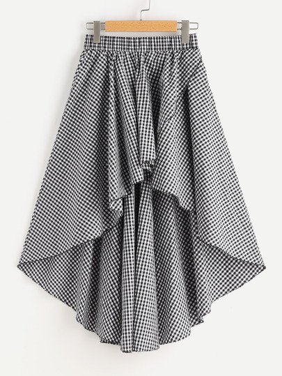 Elastic Waist High Low Gingham Skirt