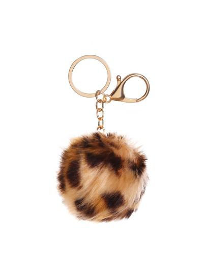 Leopard Pom Pom Keychain