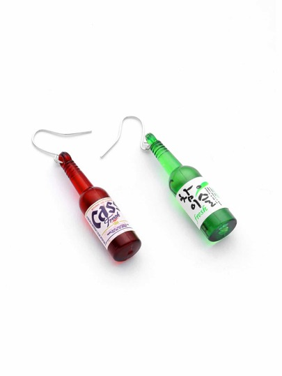 Beer Bottle Shaped Drop Earrings