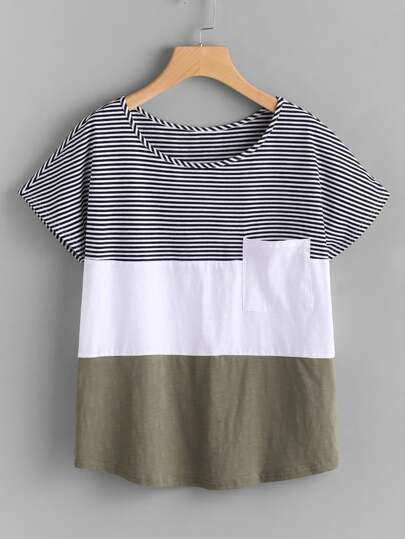 Camiseta con parche con costura