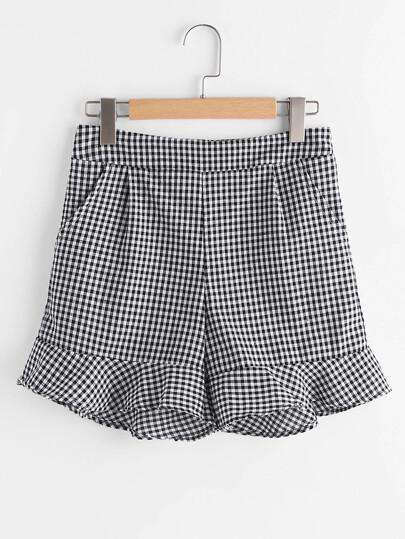 Shorts à carreaux avec des plis