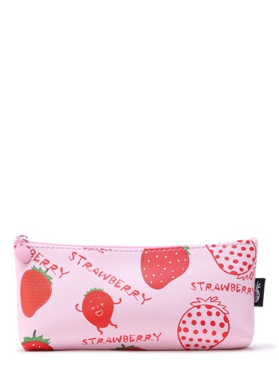 Strawberry Print Zipper Pouch