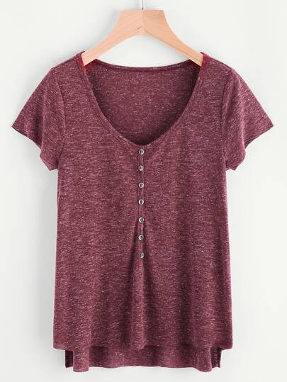 Marled Knit Button Front Staggered Hem T-shirt