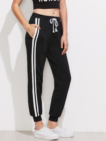 Contrast Striped Side Sweatpants