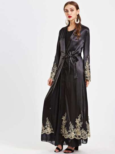 Embroidered Appliques Scallop Trim Self Tie Longline Abaya