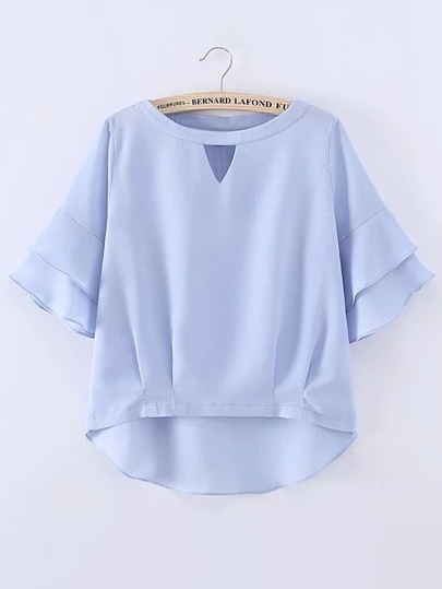 Layered Bell Sleeve High Low Top
