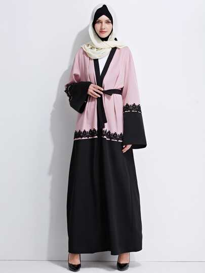 Color Block Contrast Lace Trim Self Tie Longline Abaya