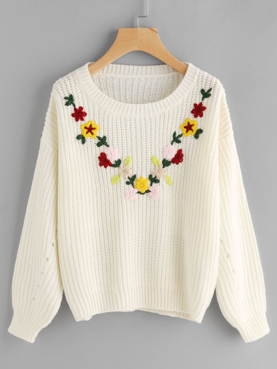Flower Embroidered Eyelet Lantern Sleeve Jumper