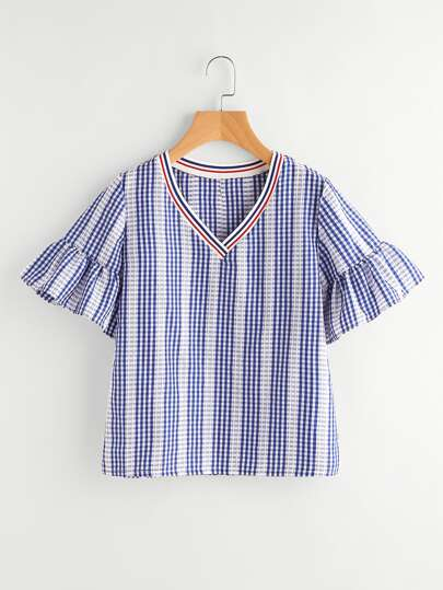 Contrast Striped Trim Frill Cuff Gingham Blouse
