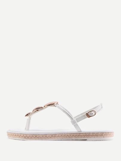 Metal Detail Toe Post Woven Sandals