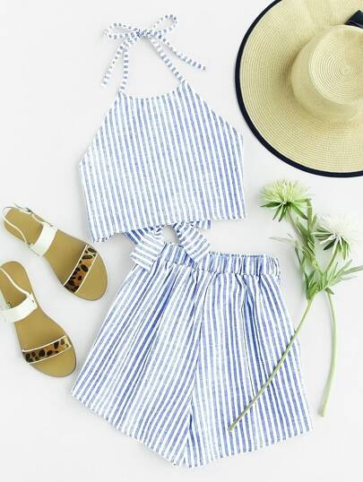 Striped Bow Tie Open Back Top With Shorts