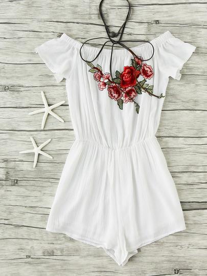 Модный комбинезон с цветочной вышивкой