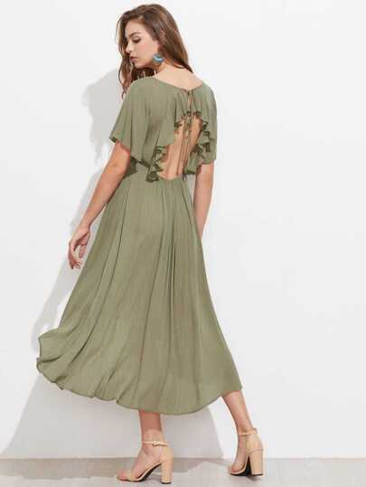 Flutter Sleeve Open Back Gold Thread Dress
