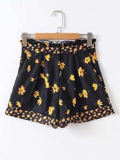 Flower Print Frill Trim Shorts