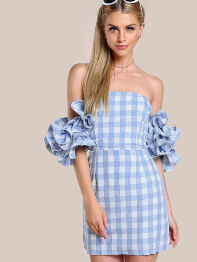 Layered Lettuce Hem Ruffle Sleeve Gingham Dress