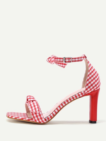 Bow Tie Check Print Heeled Sandals