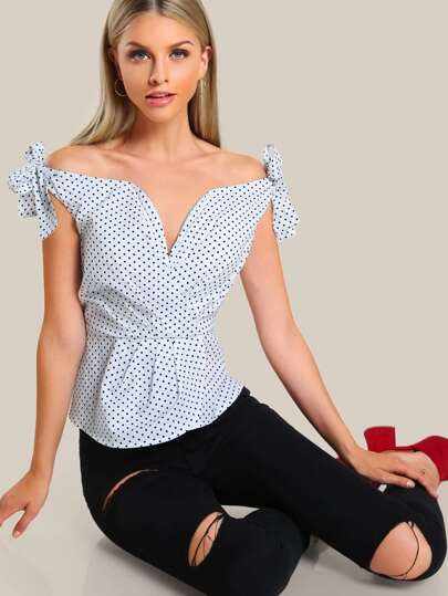 Tie Sleeve Ruched Sweetheart Bardot Top