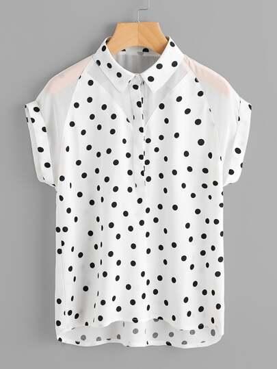 Модная шифоновая блуза в горошек