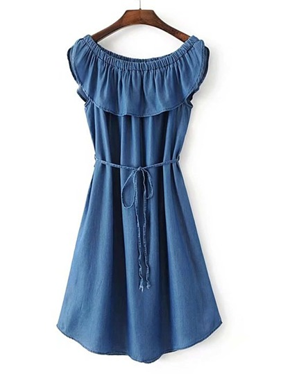 Jeanskleid mit Boot-Ausschnitt und Knoten Taille