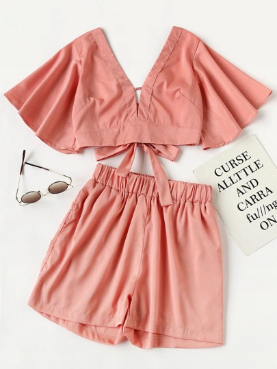 Plunging V-neckline Knot Back Crop Top With Shorts
