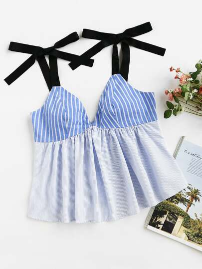 Contrast Self Tie Shoulder Mixed Stripe Babydoll Top
