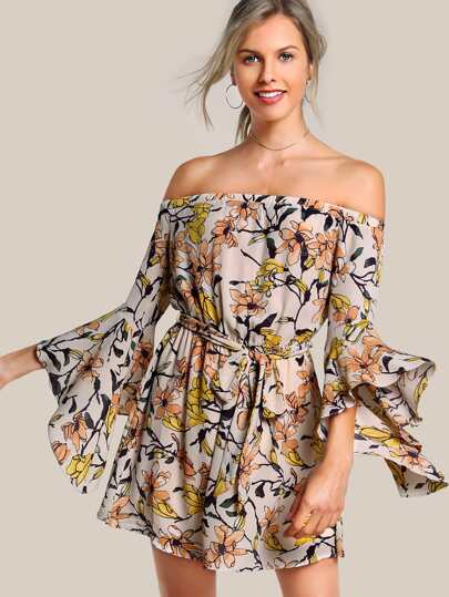 Off Shoulder Quarter Sleeve Floral Dress APRICOT