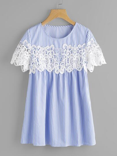 Lace Applique Striped Smock Top