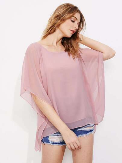 Split Shoulder Chiffon Kaftan Blouse