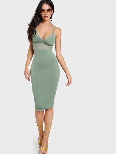 Mesh Cutout Spaghetti Strap Dress SAGE