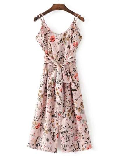 Floral Print Strappy Jumpsuit With Self Tie