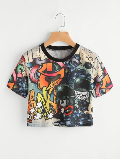 Tee-shirt imprimé du graffiti