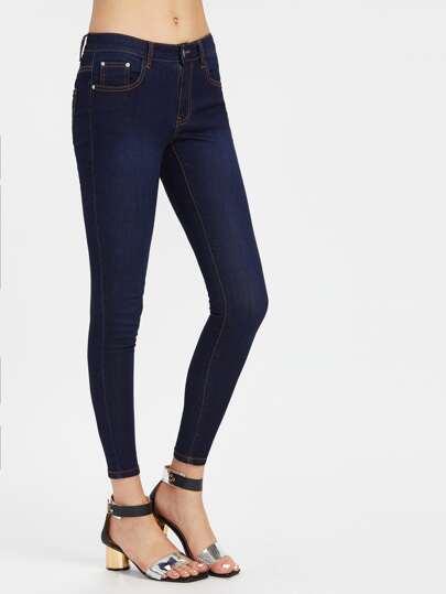 Topstitch Skinny Jeans