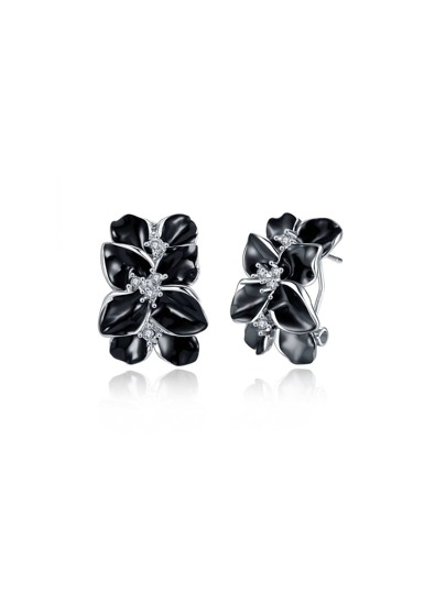 Contrast Rhinestone Flower Design Stud Earrings