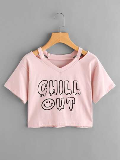 Cut Out Neck Slogan Print Tee