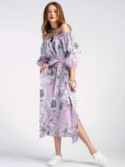 Bardot Lantern Sleeve Vertical Striped Florals Dress